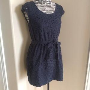 Merona navy lace eyelet overlay dress